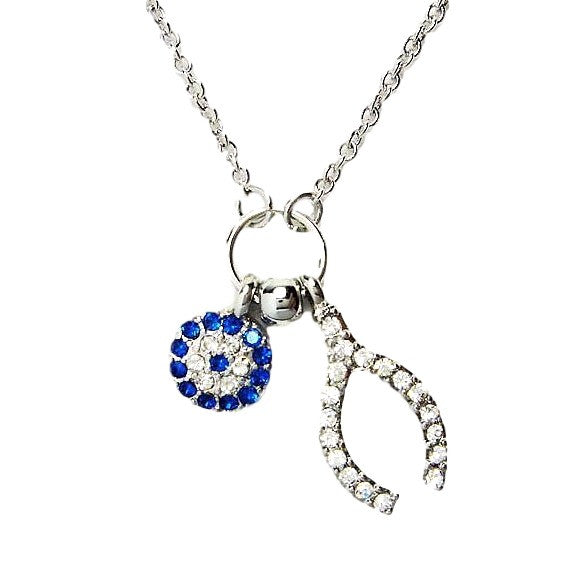 White Gold-tone Evil Eye and Lucky Wishbone Necklace with Pave clear and blue CZ