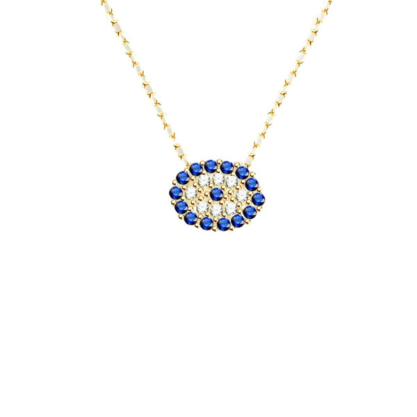Tiny Yellow Gold-tone Evil Eye Necklace in Pave CZ