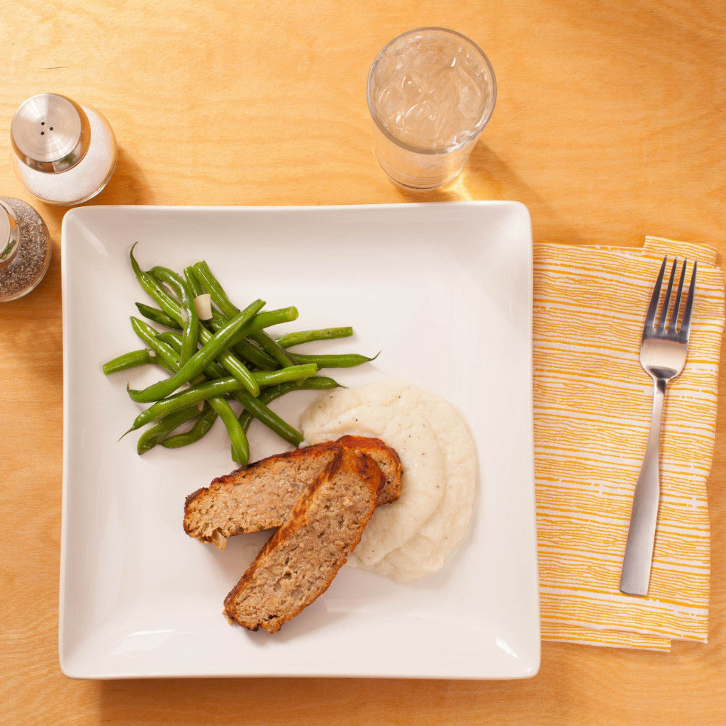 Turkey meatloaf with mashed cauliflower and green beans Eat Smart RVA meal delivery service