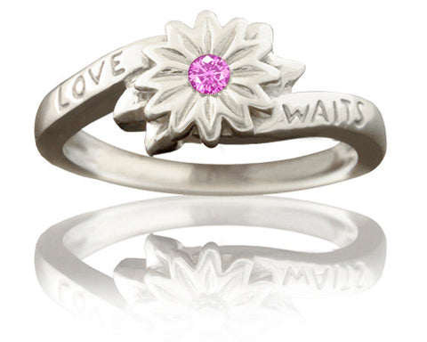 Girl's Purity Ring - Love Waits Flower with Pink Sapphire in Silver - PurityRings.com