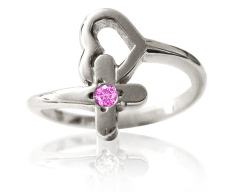 Girl's Purity Ring - Protected Heart with Pink Sapphire in Sterling Silver - PurityRings.com
