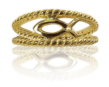 Ladies 14K Yellow Gold Ichthus Purity Ring - PurityRings.com
