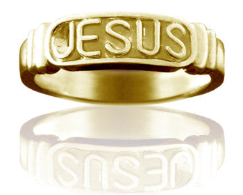 Ladies 14KT Yellow Gold Jesus Purity Ring - PurityRings.com