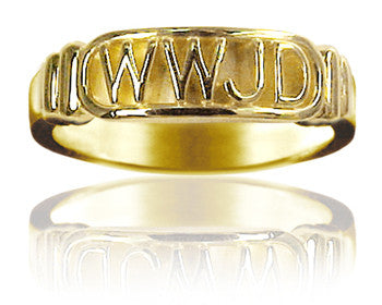"Ladies 14KT Yellow Gold ""What Would Jesus Do"" Purity Ring - PurityRings.com"
