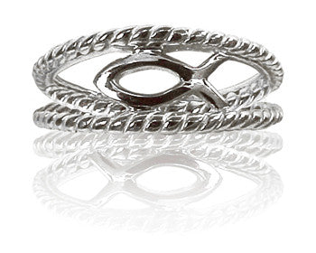 Ladies Silver Christian Ichthus Fish Purity Ring - PurityRings.com