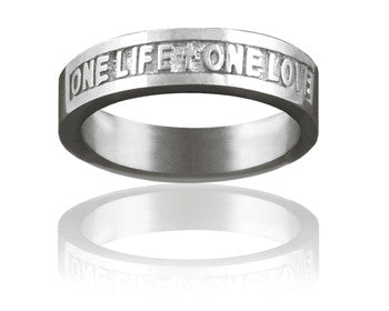 Ladies 14kt White Gold One Life One Love Christian Wedding Ring Purityrings Com