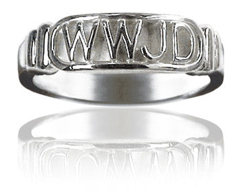 "Ladies 14KT White Gold ""What Would Jesus Do"" Purity Ring - PurityRings.com"