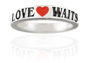 Girls Silver Purity Ring Love Waits Enamel Band - PurityRings.com
