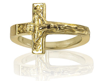Mens 14K Yellow Gold Crucifix Purity Ring - PurityRings.com