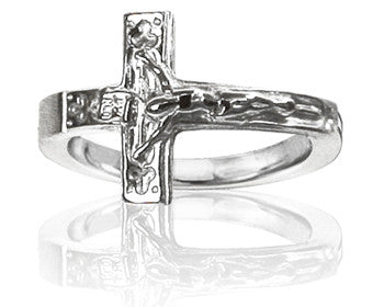 Mens 14K White Gold Crucifix Purity Ring - PurityRings.com