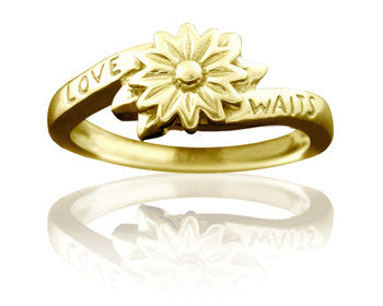 Purity Ring for Girls 14K Yellow Gold Love Waits Flower - PurityRings.com