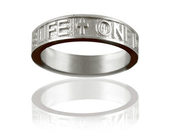 Gents Silver One Life, One Love Christian Wedding Ring - PurityRings.com
