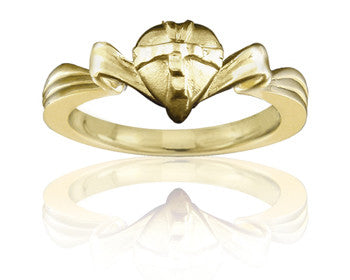 Purity Ring - Girls 14K Yellow Gold Gift-Wrapped Heart - PurityRings.com