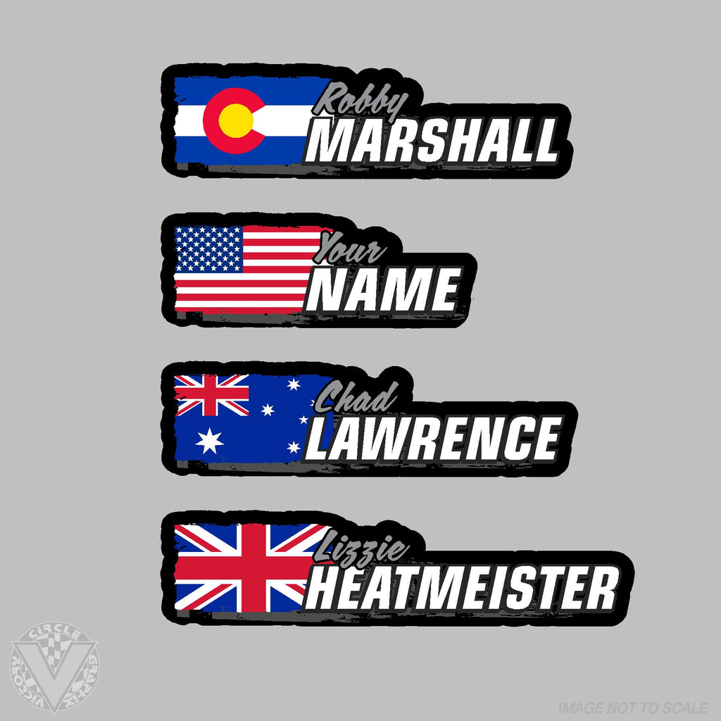 Name grunge country flag 10 pack