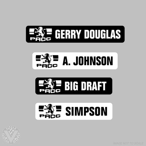 Team PACC Name Stickers -10 pack