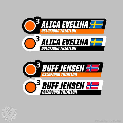 Oslofjord Triathlon Team Name Stickers- 10 pack