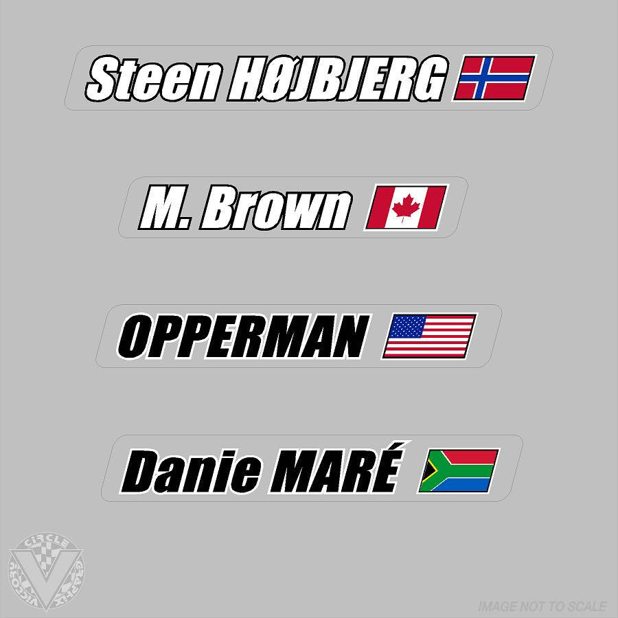 Name stickers on clear with flag 6 pack