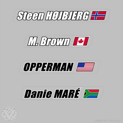 Name Stickers on Clear with Flag-6 pack