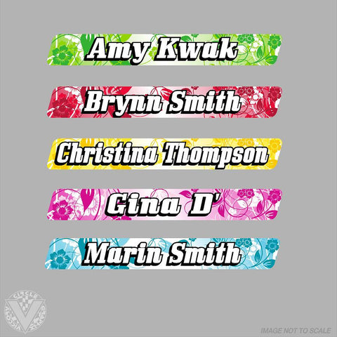 Name Stickers with Flower background -10 pack