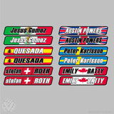 Name with Country Flag Overlay - 10 pack