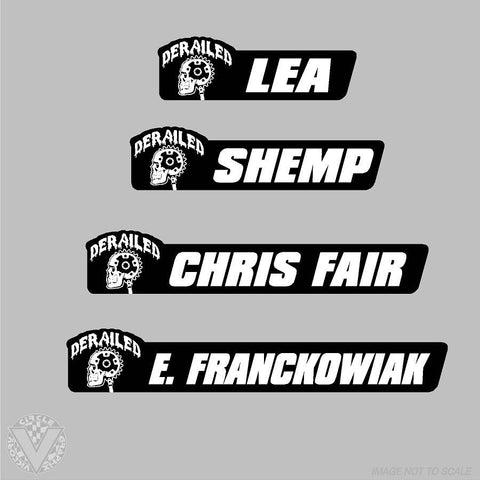 Shop/Team Derailed Name Stickers-10 pack
