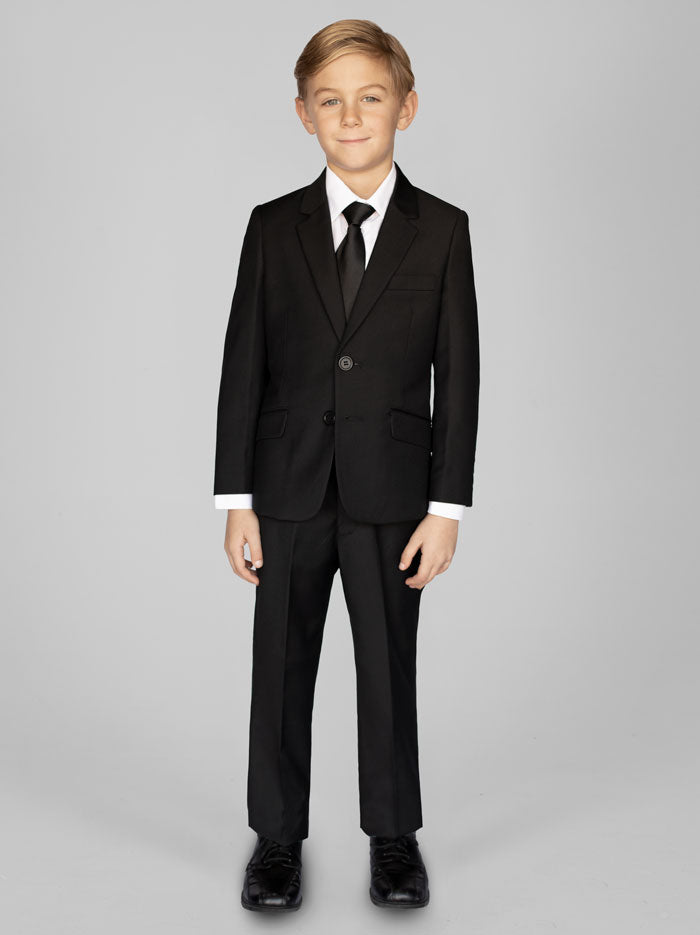 Boys Black Two Button Suit With Shirt & Tie