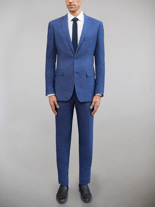 Royal Blue & Slate Blue Large Houndstooth Two Button Suit