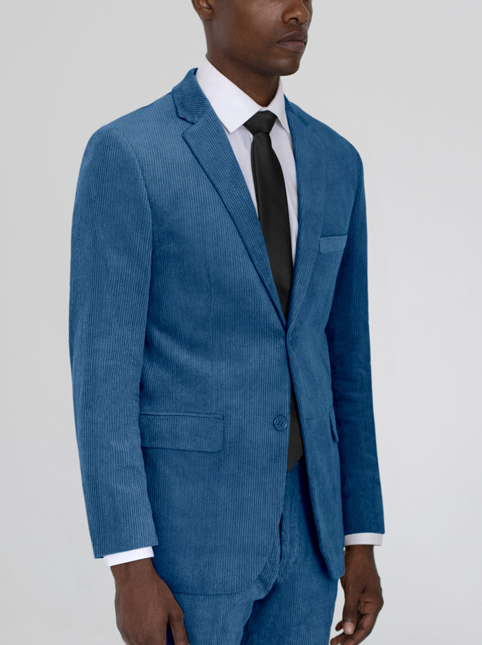 Blue Corduroy Two Button Suit