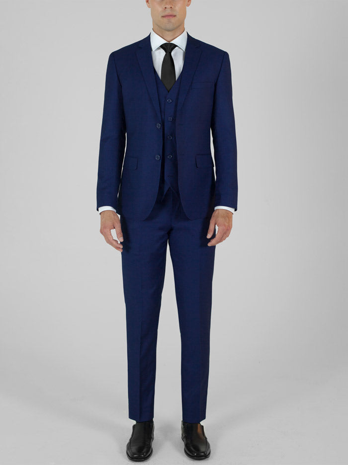 Blue Birdseye Three Piece Suit