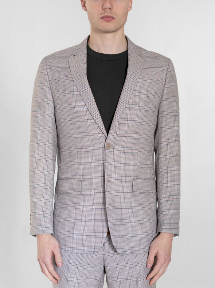 Beige & Blue Plaid Two Button Suit