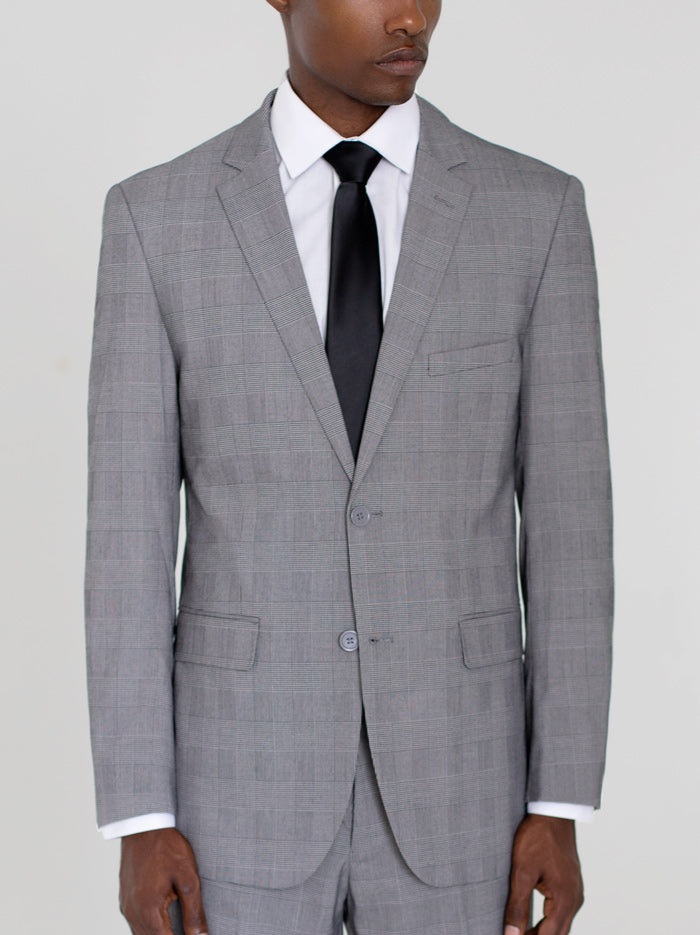 BLACK & WHITE GLEN PLAID TWO BUTTON TR SUIT