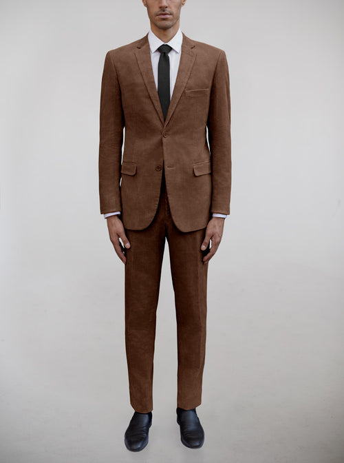 Brown Corduroy Two Button Suit