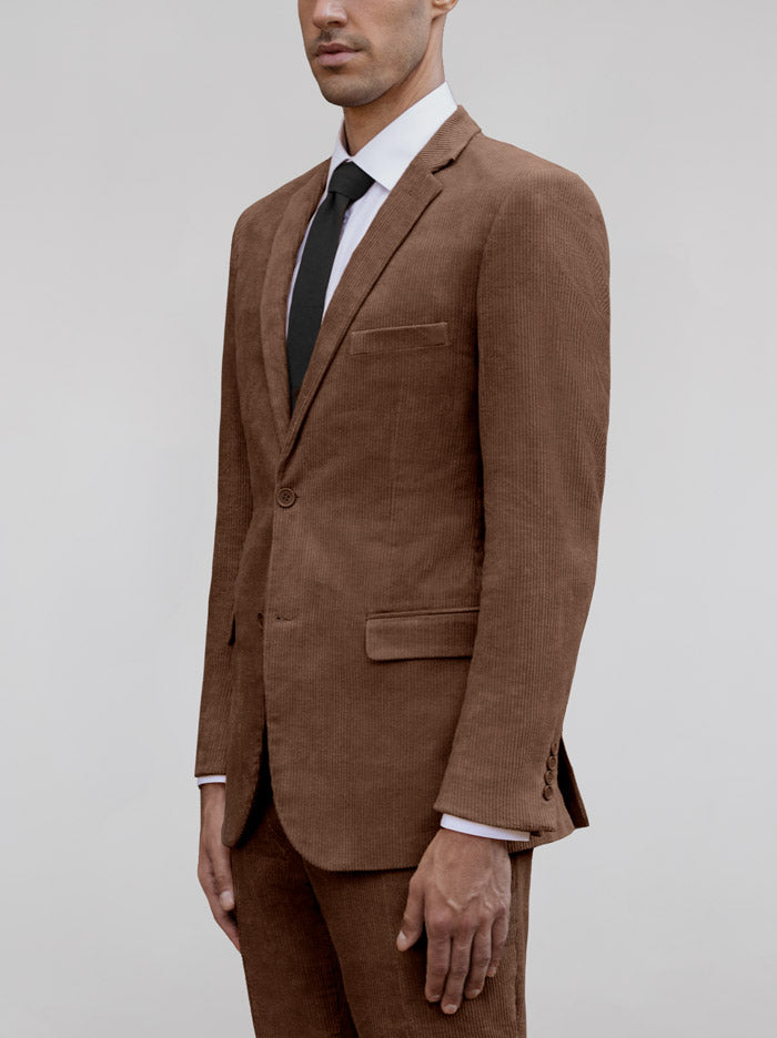 BROWN TWO BUTTON TR SUIT