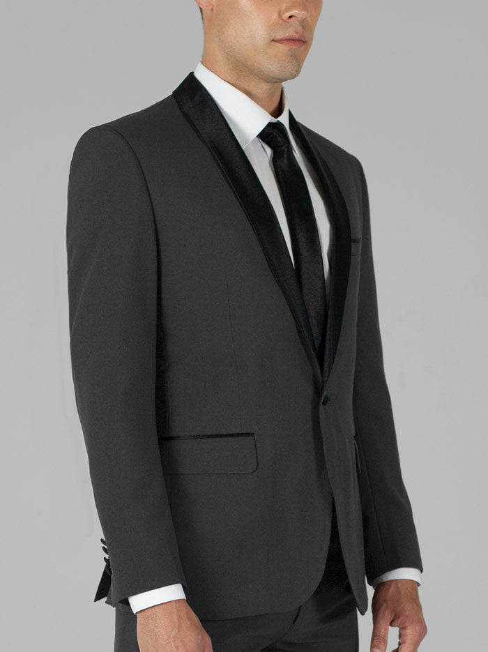 CHARCOAL GREY TUXEDO WITH SHAWL LAPEL