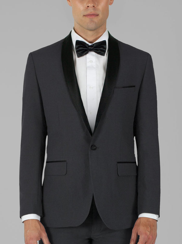 CHARCOAL GREY TUXEDO WITH SHAWL LAPEL TR