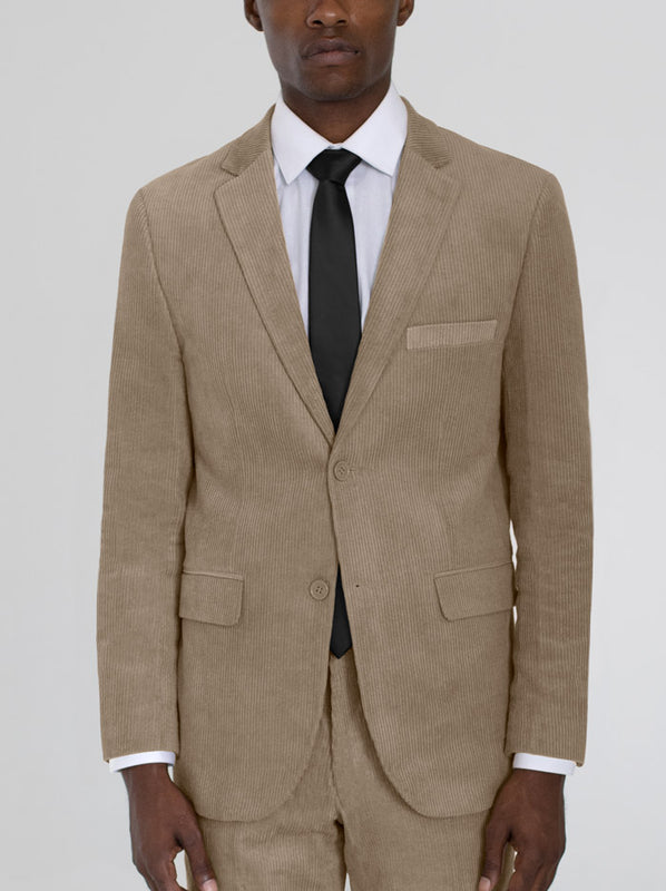 BEIGE CORDUROY TWO BUTTON TR SUIT