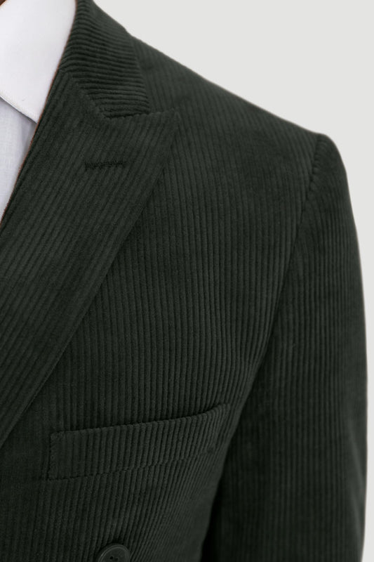 Forest Green Corduroy Double Breasted Suit