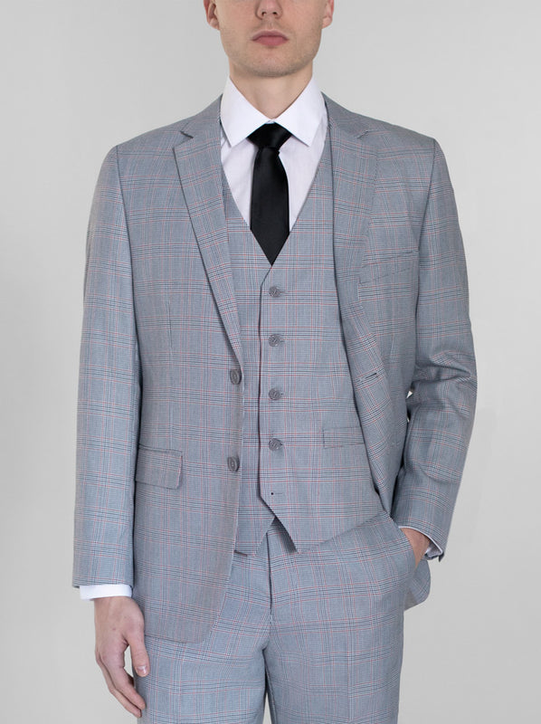 GREY & RED PLAID THREE PIECE SUIT (coming soon)