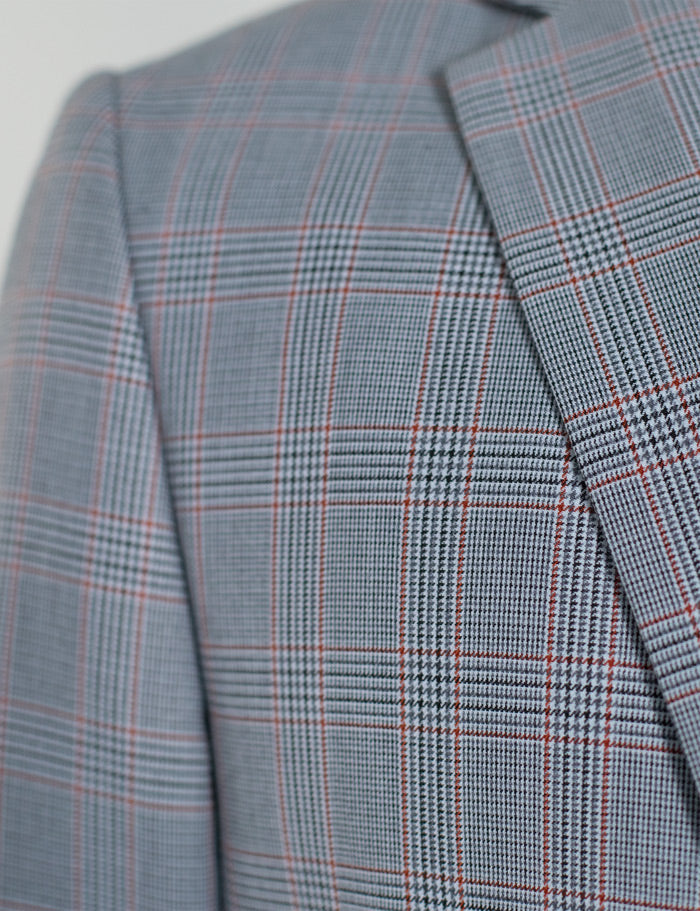 GREY & RED PLAID TWO BUTTON SUIT