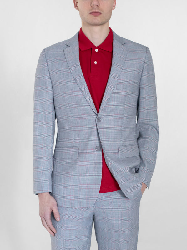 GREY & RED PLAID TWO BUTTON SUIT (coming soon)