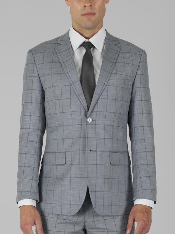 LIGHT GREY PLAID TWO BUTTON TR SUIT