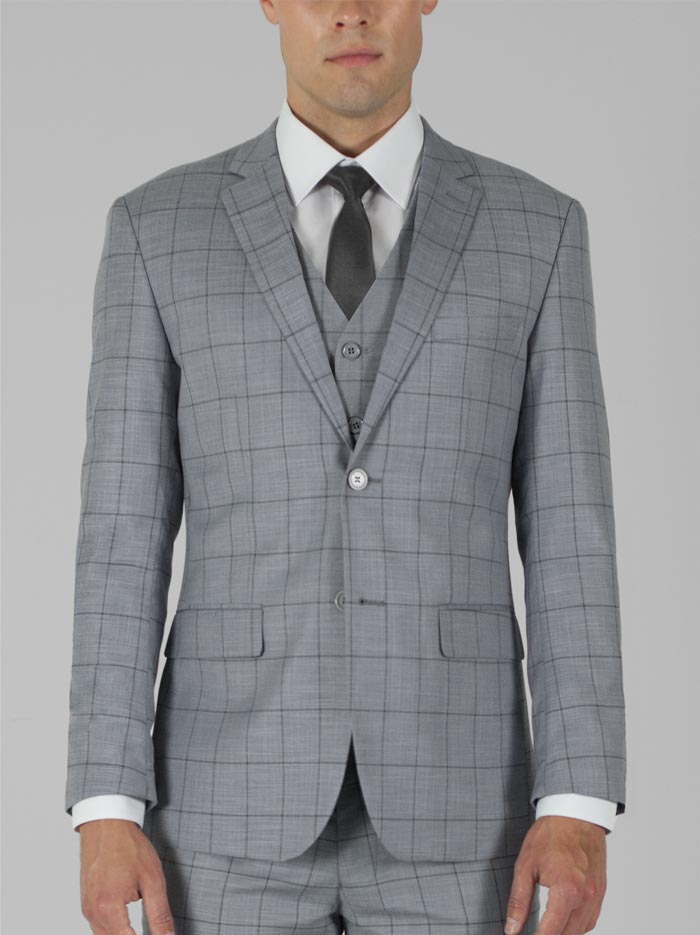 LIGHT GREY PLAID THREE PIECE TR SUIT