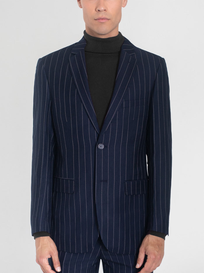 NAVY BLUE WIDE PINSTRIPE TWO BUTTON TR SUIT