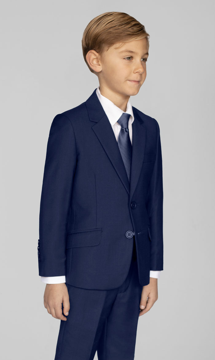 BOYS ROYAL BLUE TWO BUTTON SUIT WITH SHIRT & TIE
