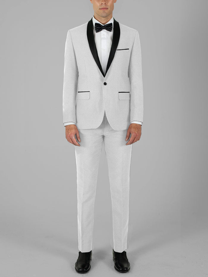 WHITE TUXEDO WITH SHAWL LAPEL