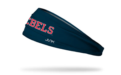 navy headband with University of Mississippi Rebels wordmark in red with white outline