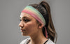 colorful pastel headband in blue green orange and pink painted gradient on female
