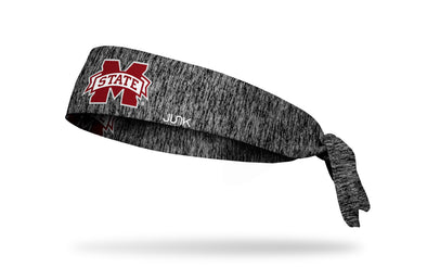 grey and black heathered headband with Mississippi State University M State logo in maroon and white