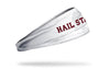 white headband with Mississippi State University Hail State wordmark in maroon with outline of Mississippi in light grey