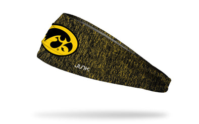 gold and black heathered headband with University of Iowa tiger hawk logo in black and gold